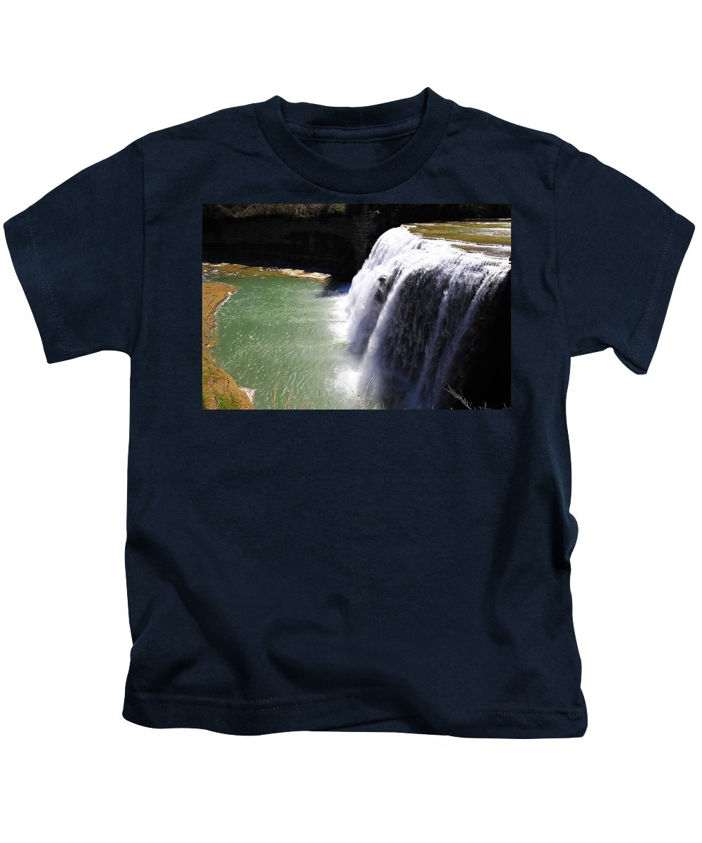 Up Kids T-Shirt featuring the painting Middle Waterfalls In Letchworth State Park II by Paul Ge