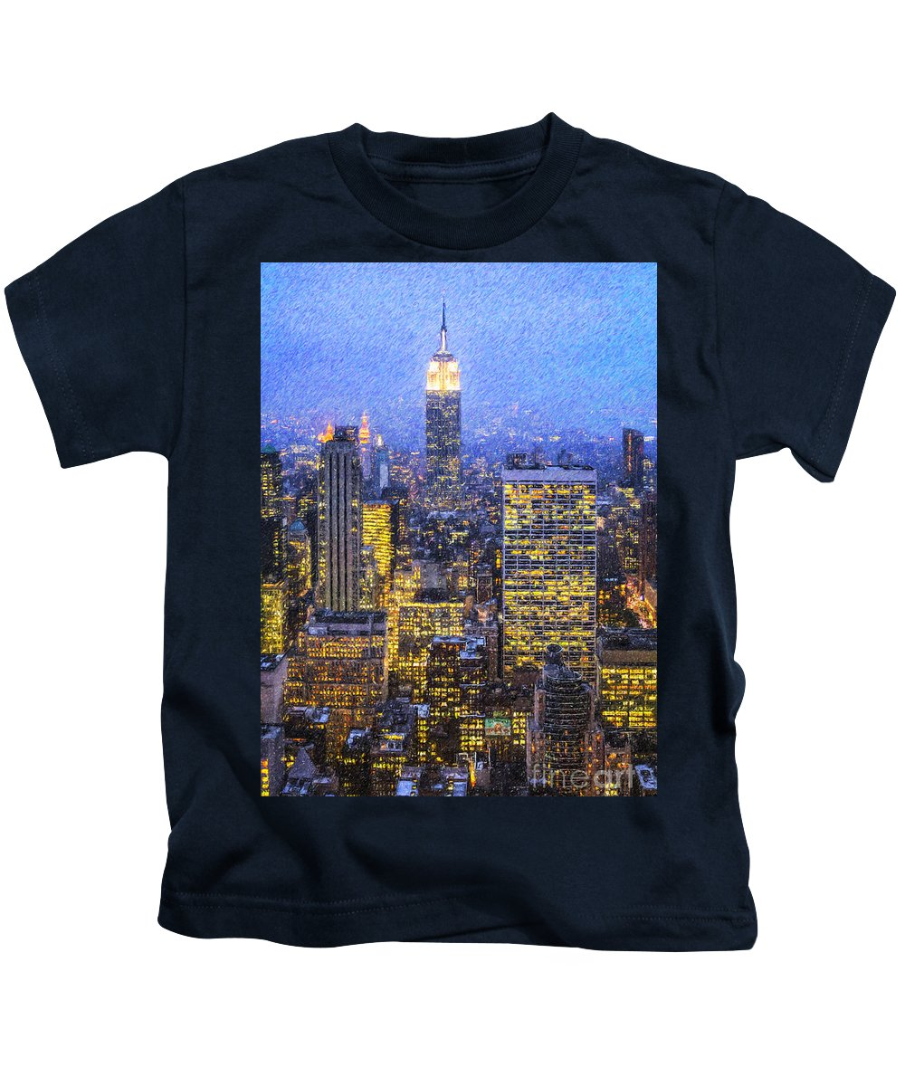 Empire State Building Kids T-Shirt featuring the digital art Midtown Manhattan And Empire State Building by Liz Leyden