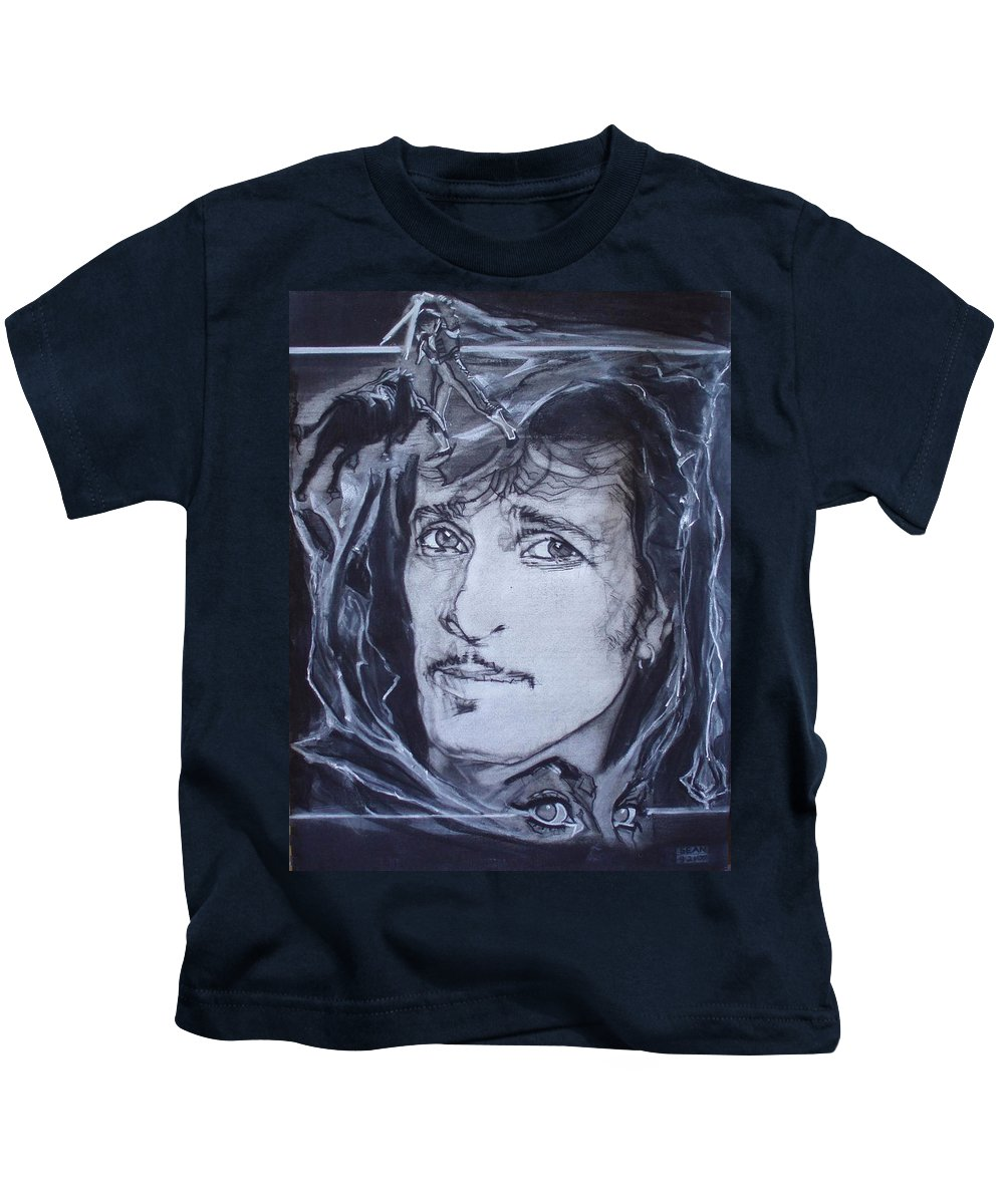 Charcoal;mink Deville;new York City;gina Lollabrigida Eyes ;cat Eyes;bullfight;toreador;swords;death;smoke;blues Kids T-Shirt featuring the drawing Willy Deville - Coup De Grace by Sean Connolly