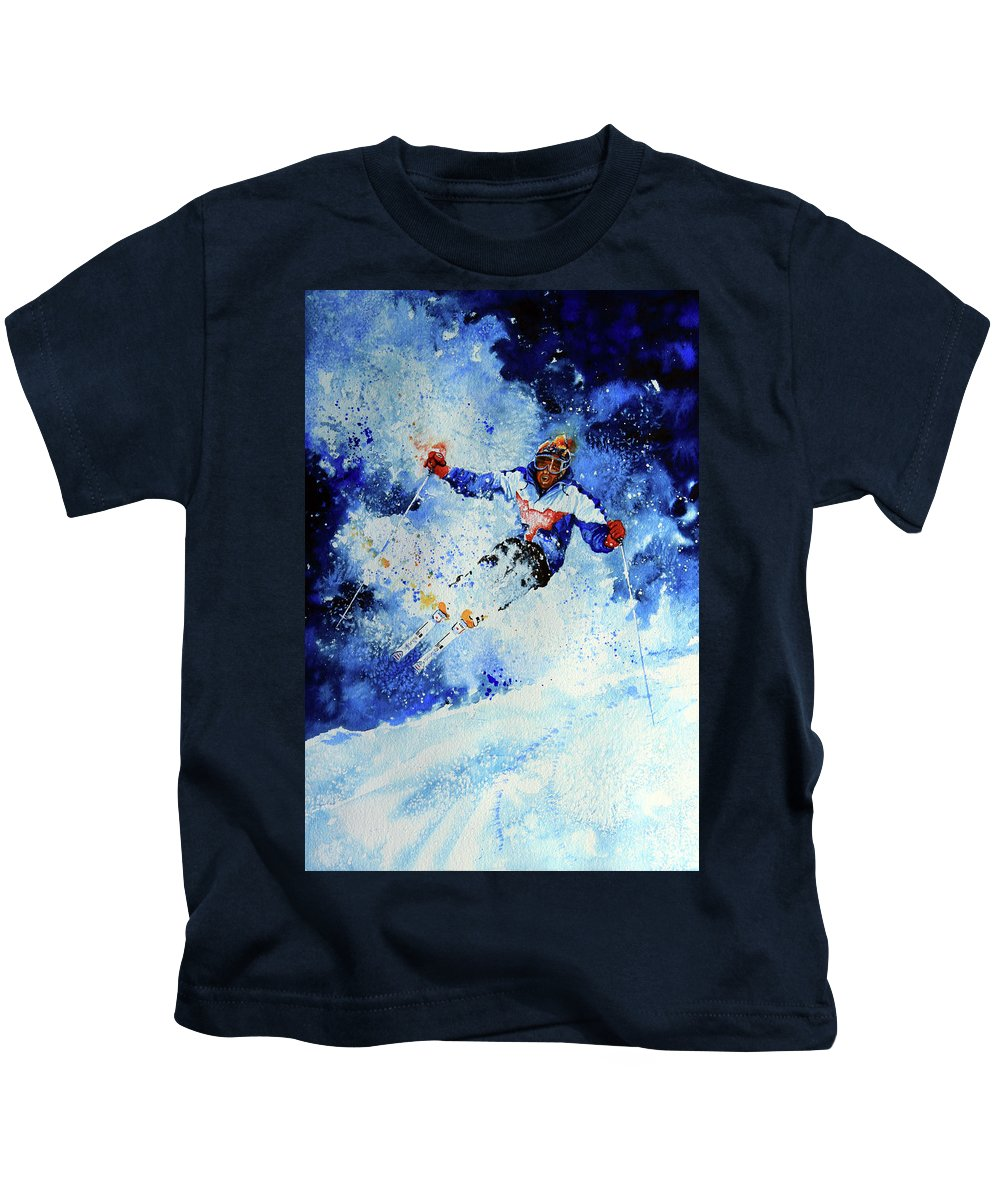 Artist Kids T-Shirt featuring the painting Mogul Mania by Hanne Lore Koehler
