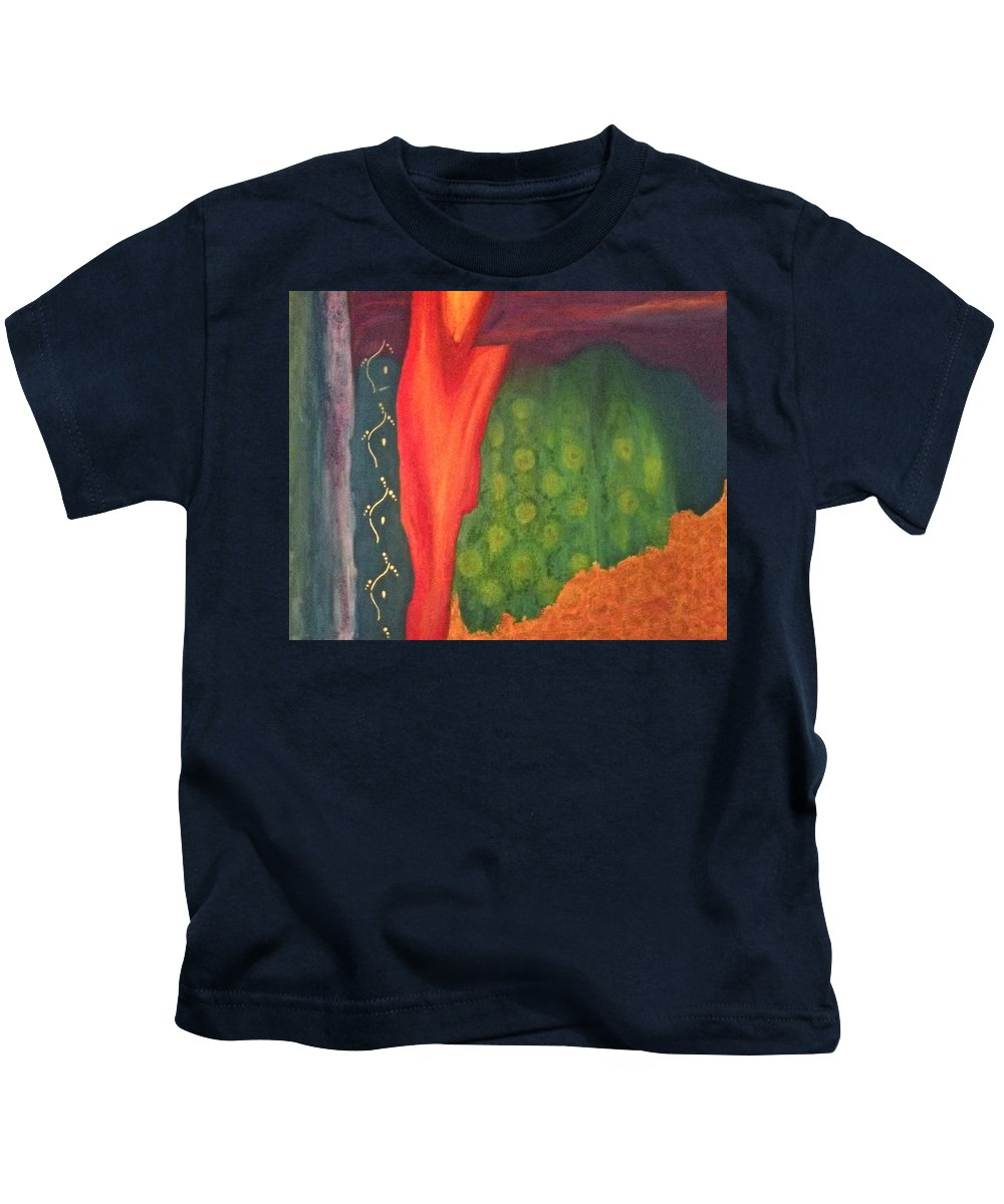 Abstract Kids T-Shirt featuring the painting Molten Verdure by Gail Stivers