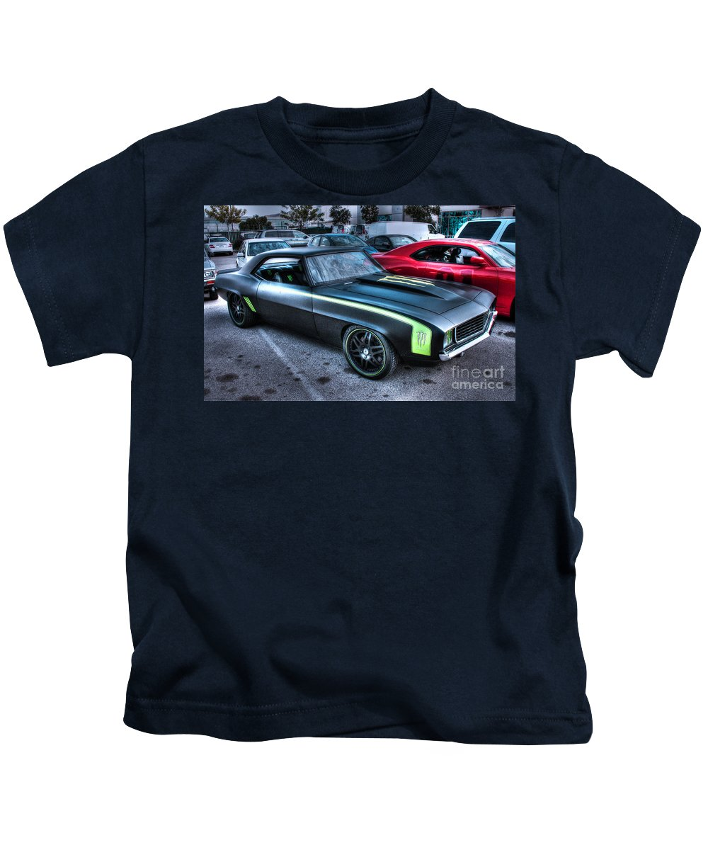 1969 Chevy Camaro Kids T-Shirt featuring the photograph Monster Camaro by Tommy Anderson