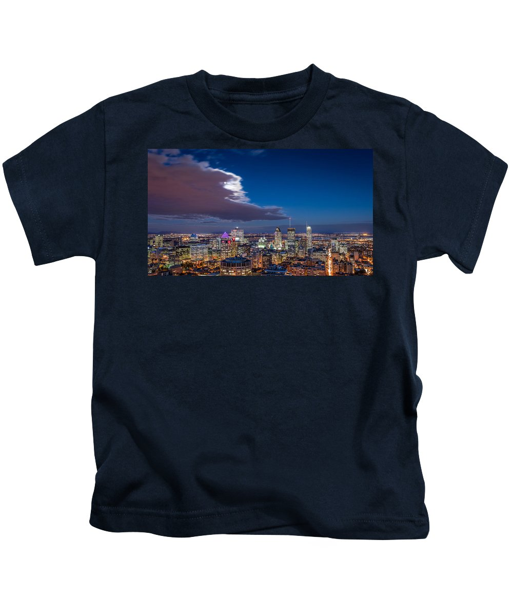 Canada Kids T-Shirt featuring the photograph Montreal By Night by Mihai Andritoiu