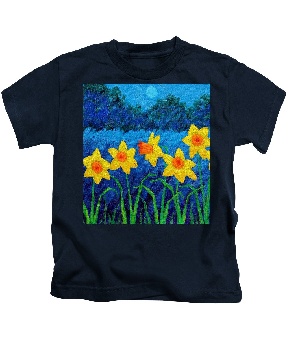 Acrylic Kids T-Shirt featuring the painting Moonlit Daffodils by John Nolan