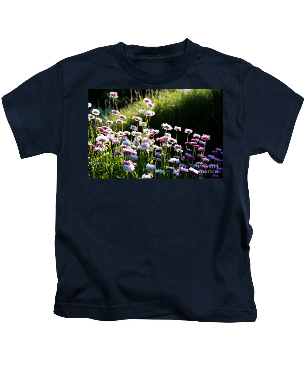 Pink Flower Kids T-Shirt featuring the photograph Morning Sun by Yew Kwang