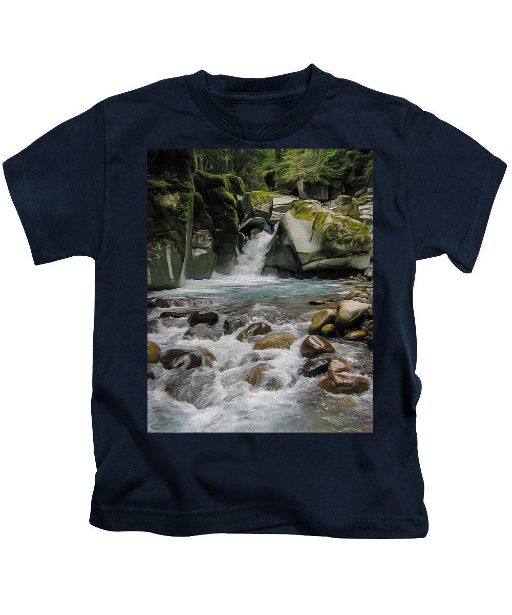 Waterfalls Kids T-Shirt featuring the painting Mount Rainier Falls by John Haldane