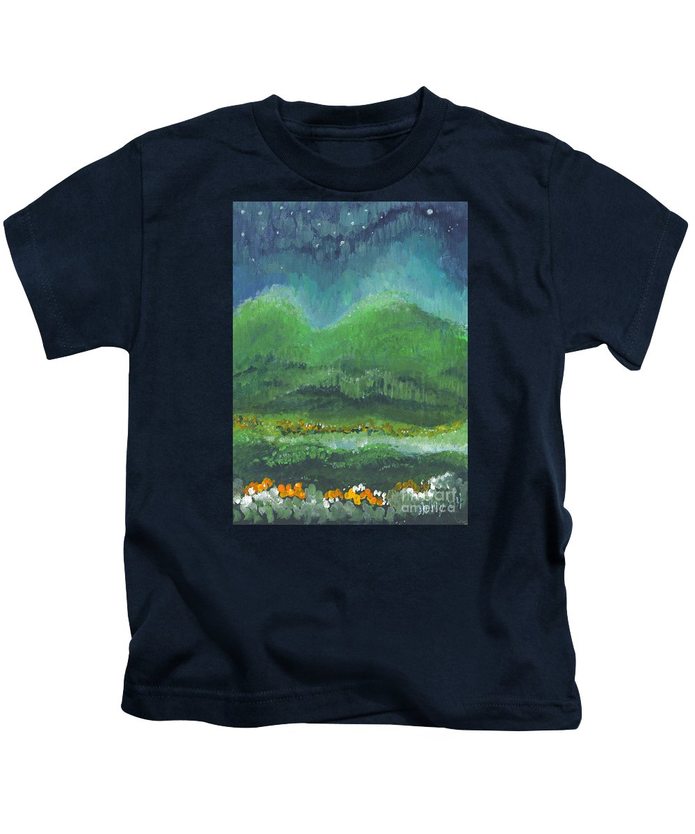 Night Kids T-Shirt featuring the painting Mountains At Night by Holly Carmichael