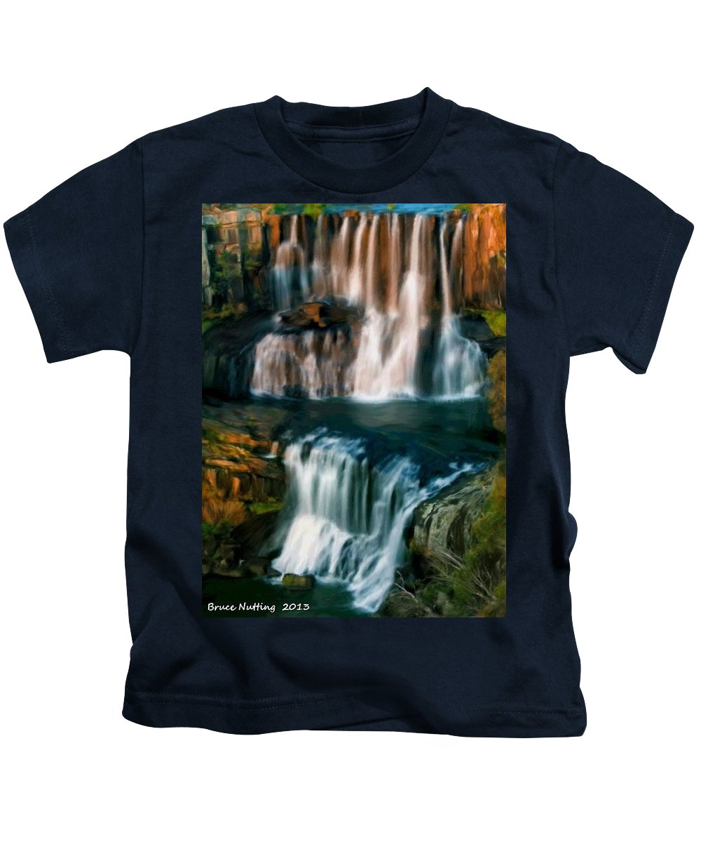 Waterfall Kids T-Shirt featuring the painting Multi-tiered Waterfalls by Bruce Nutting