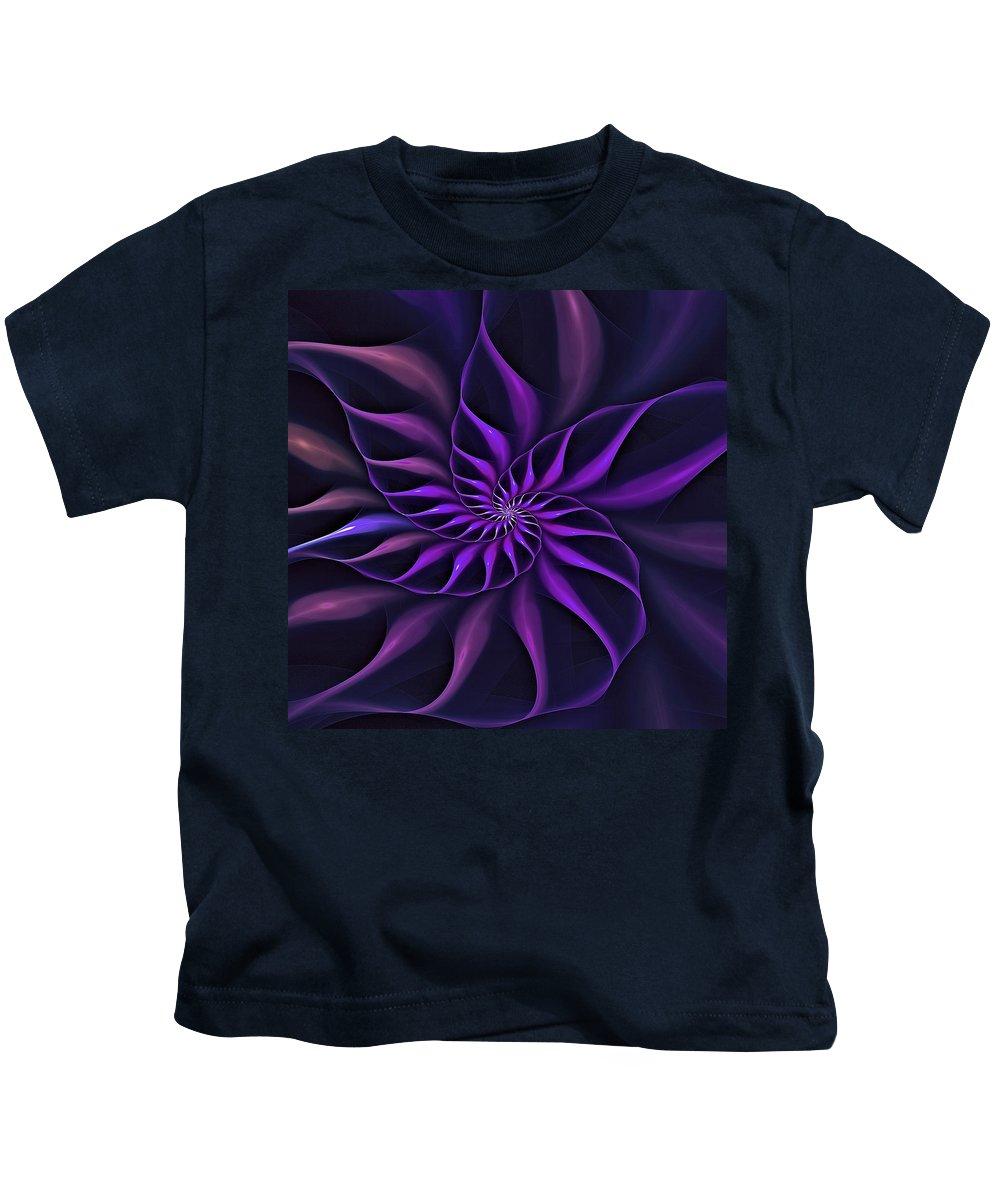 Flower Kids T-Shirt featuring the digital art Nautilus Fractalus Moongarden by Doug Morgan