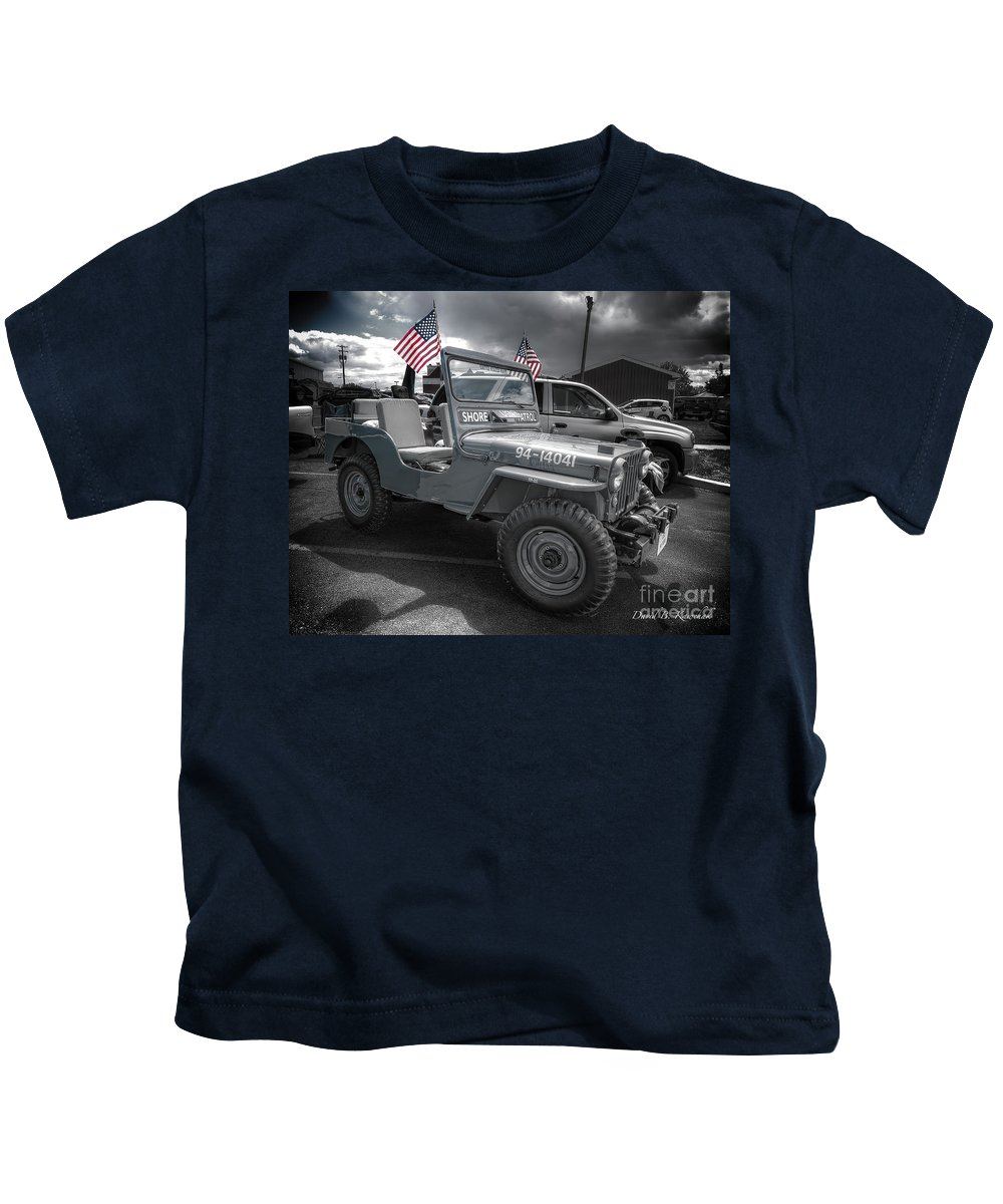 Navy Jeep Kids T-Shirt featuring the photograph Navy Jeep by David B Kawchak Custom Classic Photography