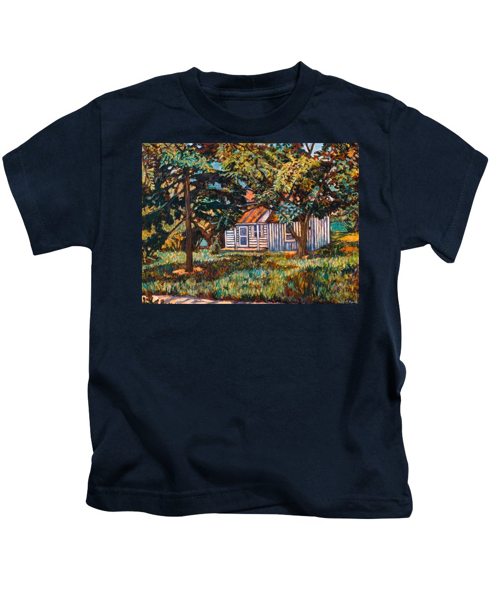 Architecture Kids T-Shirt featuring the painting Near The Tech Duck Pond by Kendall Kessler