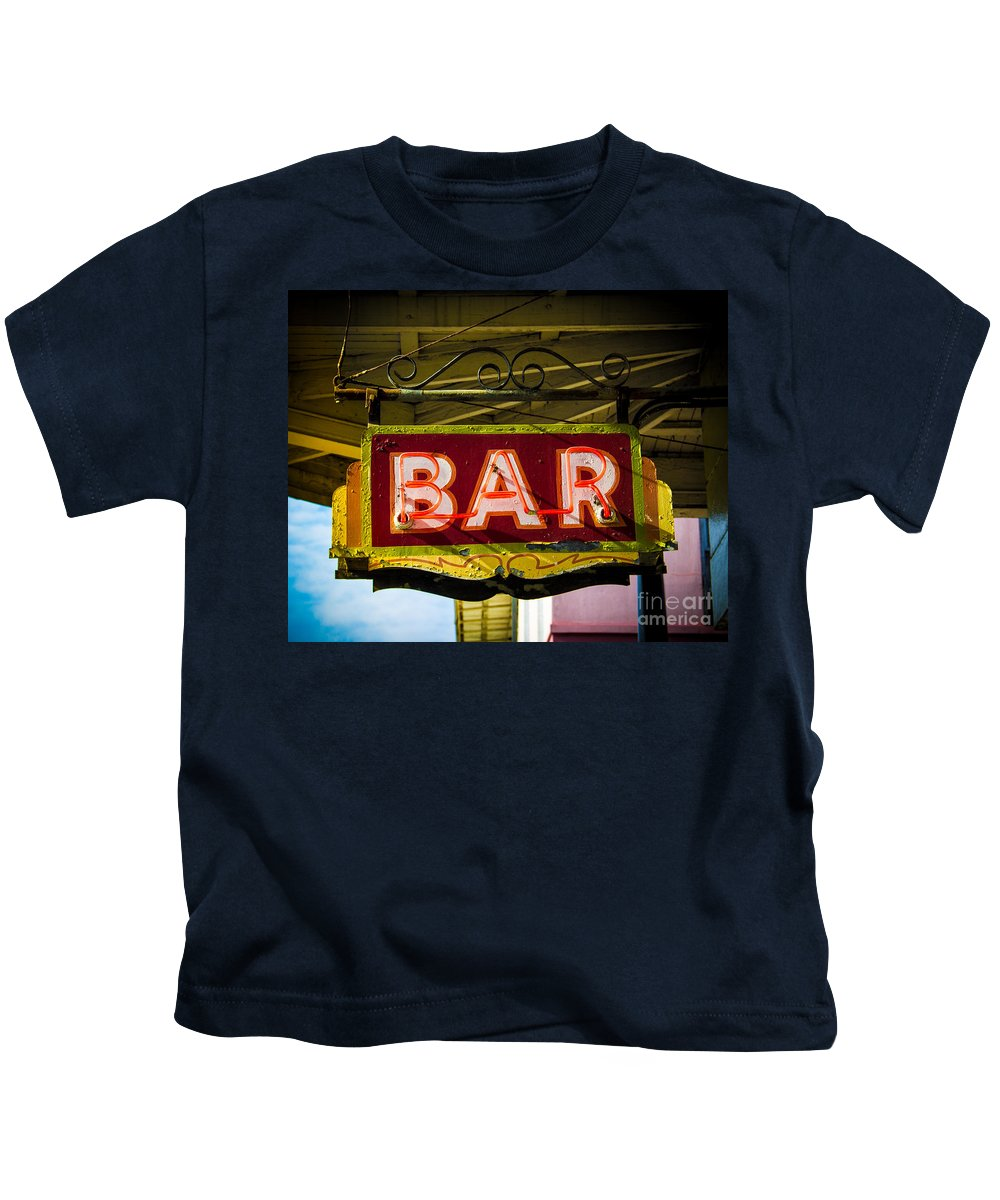 Sign Kids T-Shirt featuring the photograph Neon Bar by Perry Webster