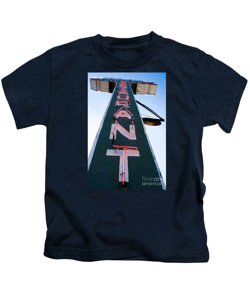 Restaurant Kids T-Shirt featuring the photograph Neon Restaurant Sign by Thomas Marchessault