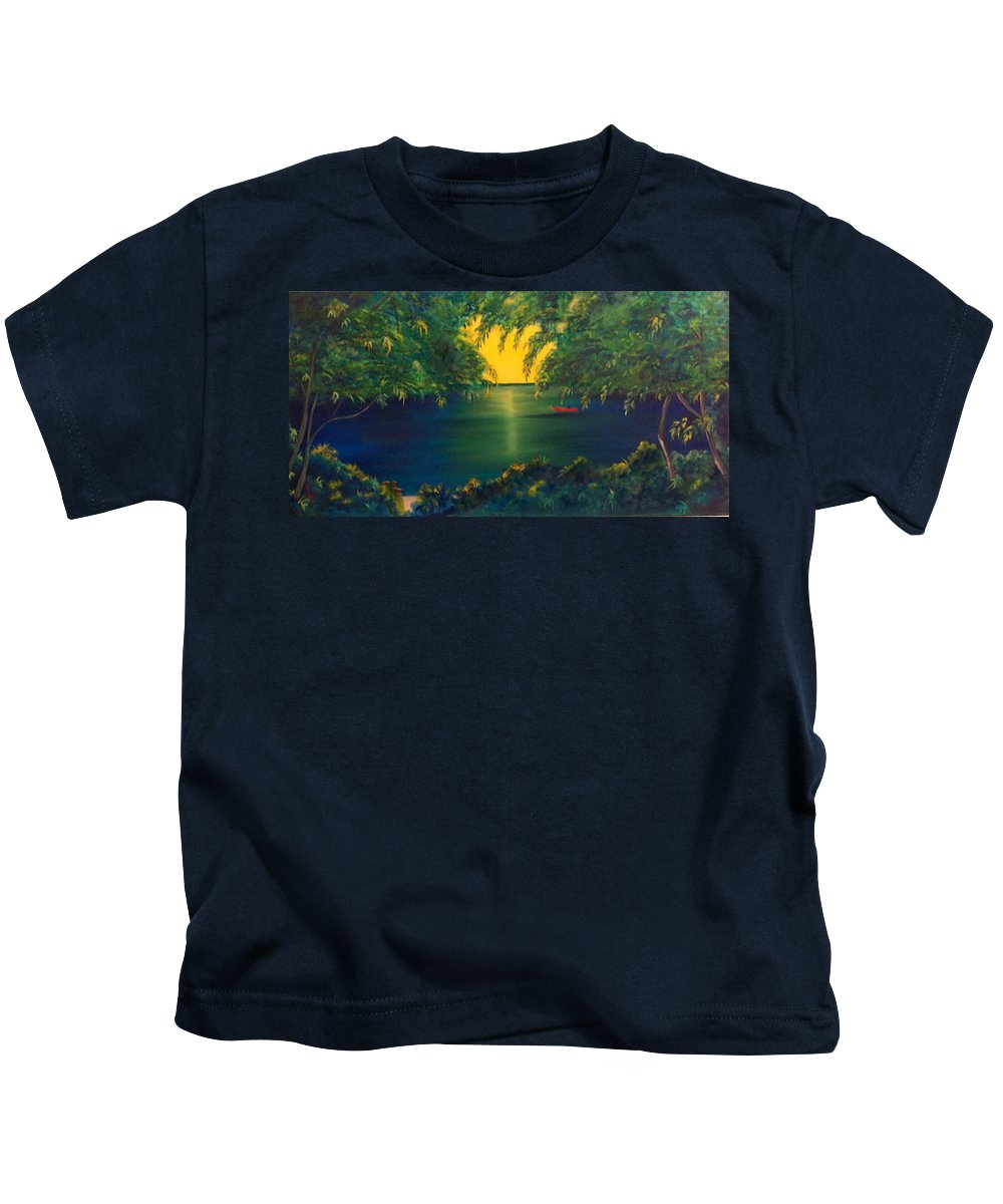 Landscape Kids T-Shirt featuring the painting New River Dream by Dina Holland
