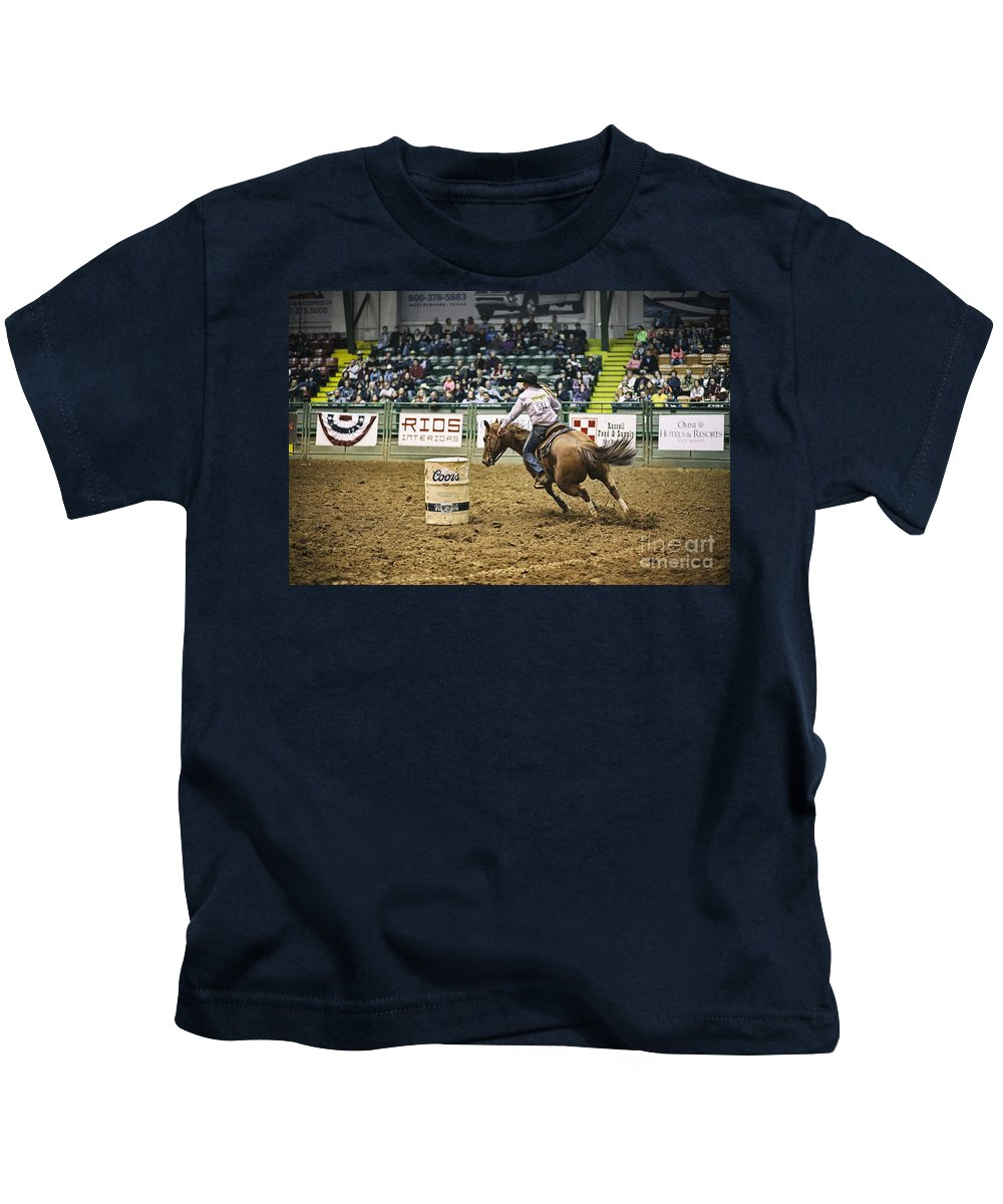 Night Kids T-Shirt featuring the photograph Night At The Rodeo V25 by Douglas Barnard