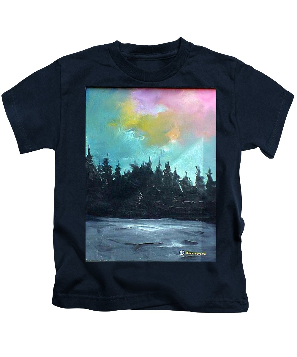 Landscape Kids T-Shirt featuring the painting Night River by Sergey Bezhinets
