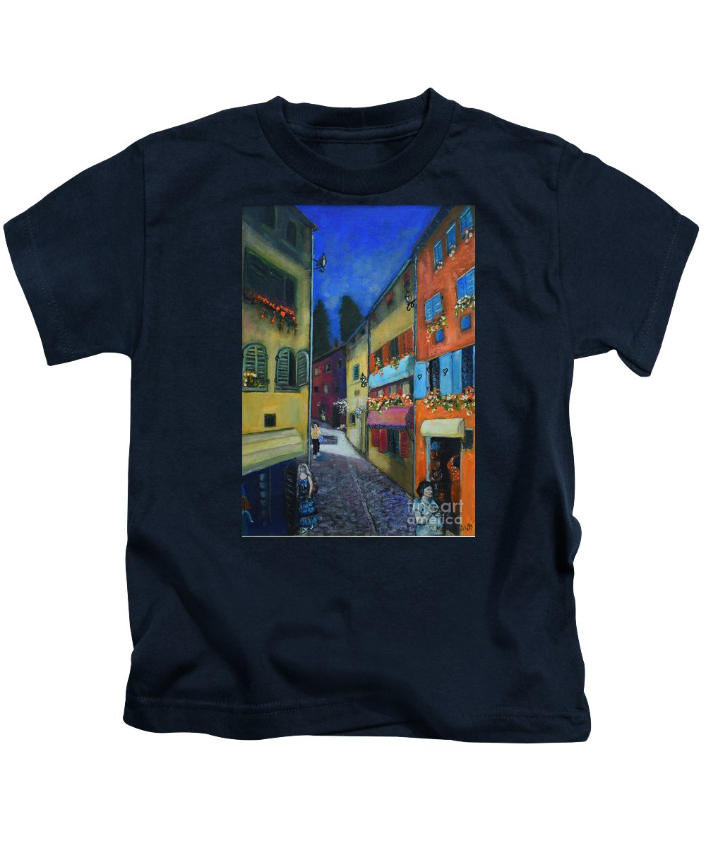 Raija Merila Kids T-Shirt featuring the painting Night Street In Pula by Raija Merila