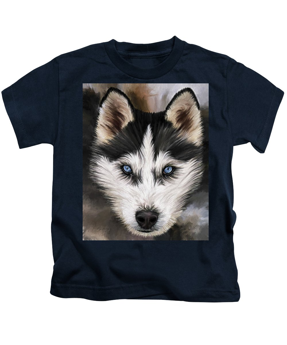 Dog Art Kids T-Shirt featuring the painting Nikki by David Wagner