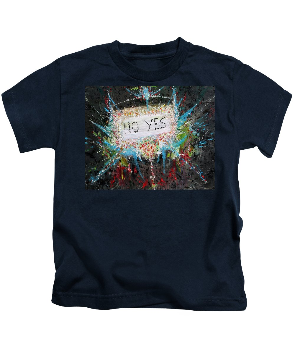 Abstract Kids T-Shirt featuring the painting No Yes by Fabrizio Cassetta