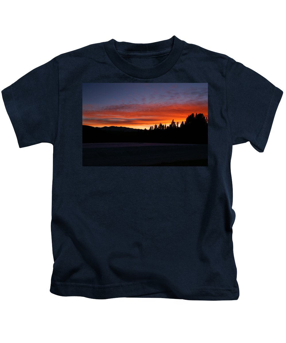 November's Embers Kids T-Shirt featuring the photograph Novembers Embers by Jeremy Rhoades
