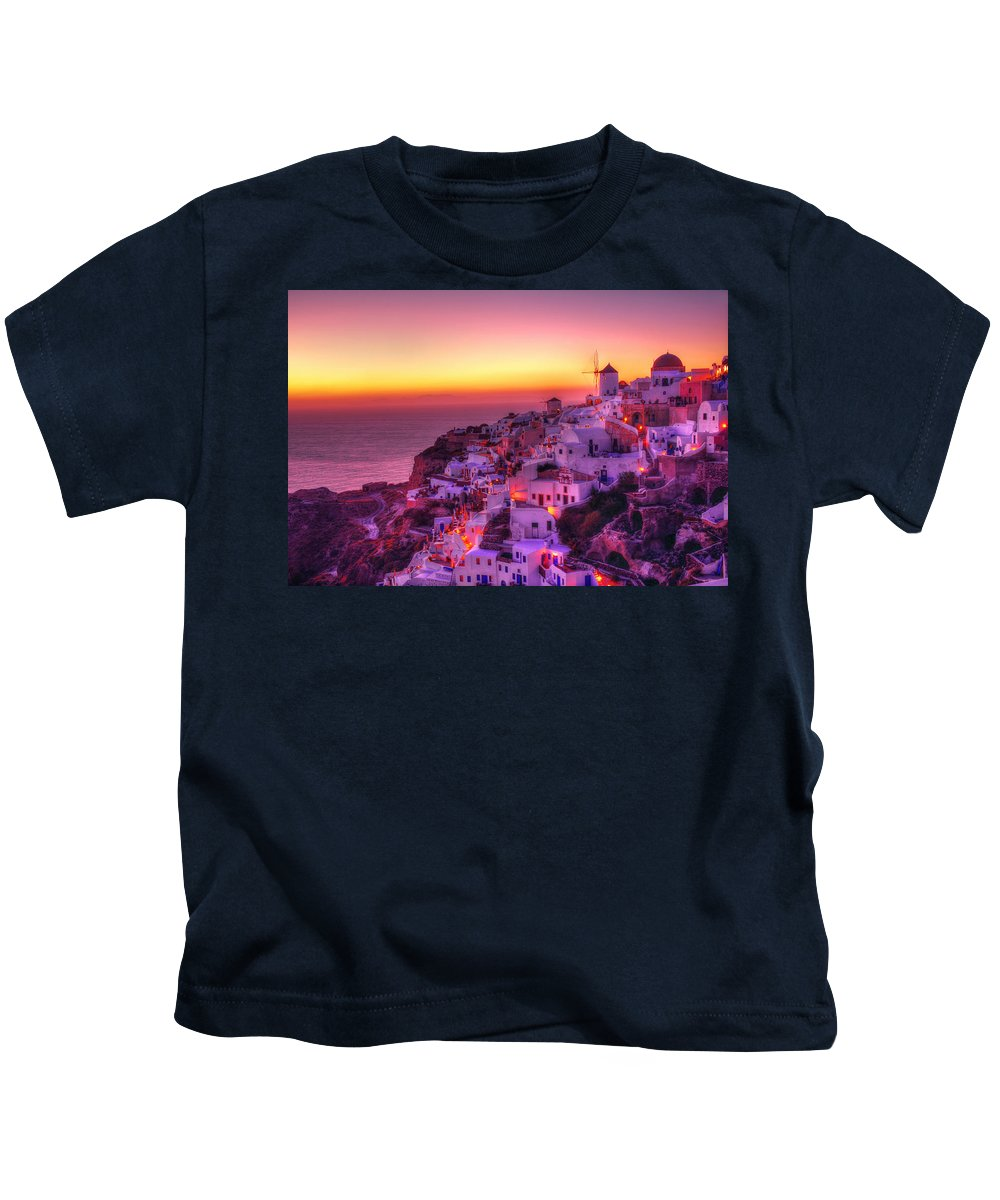 Santorini Kids T-Shirt featuring the photograph Oia Sunset by Midori Chan