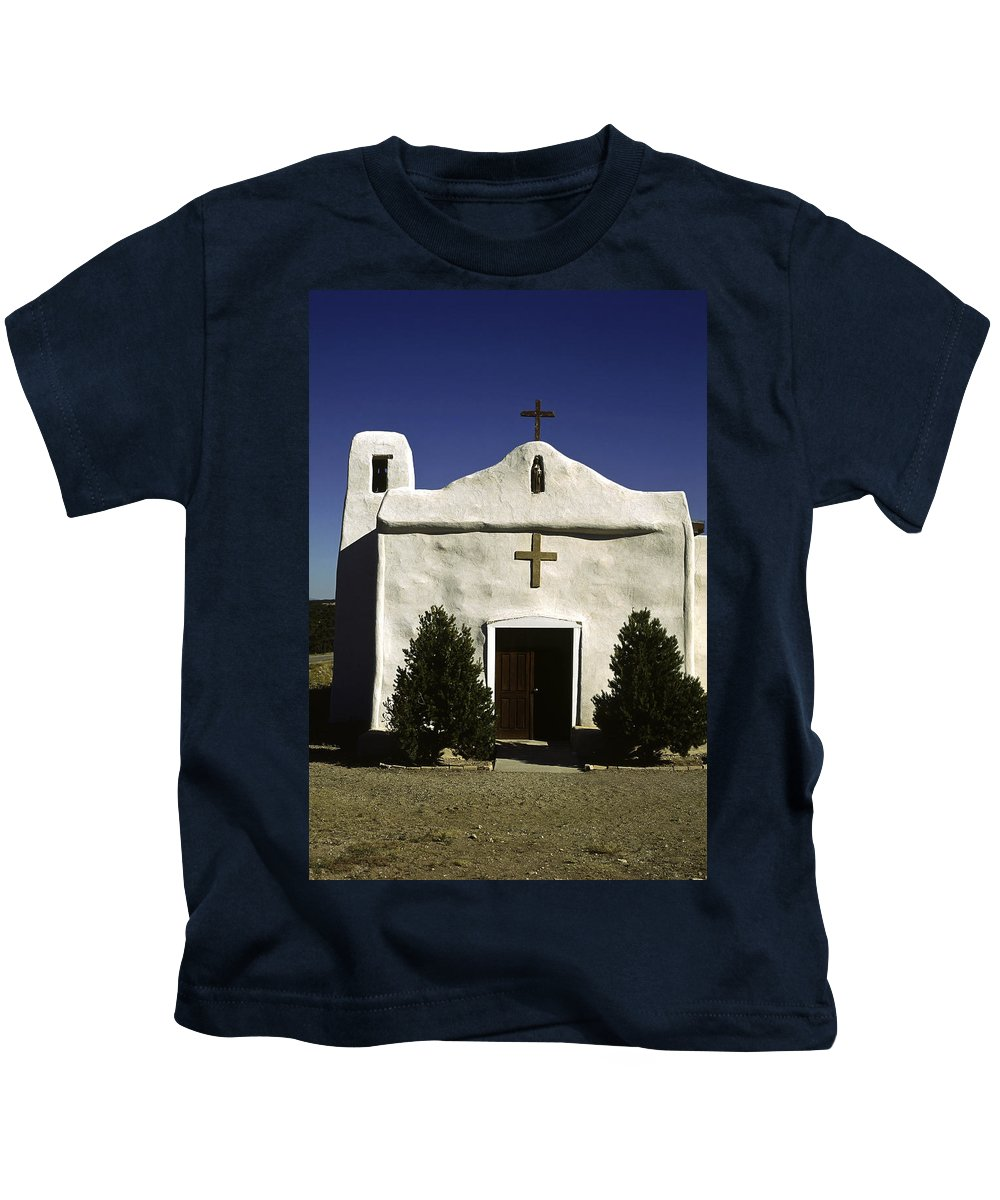 White Adobe Style Church Kids T-Shirt featuring the photograph Old Adobe Church by Sally Weigand