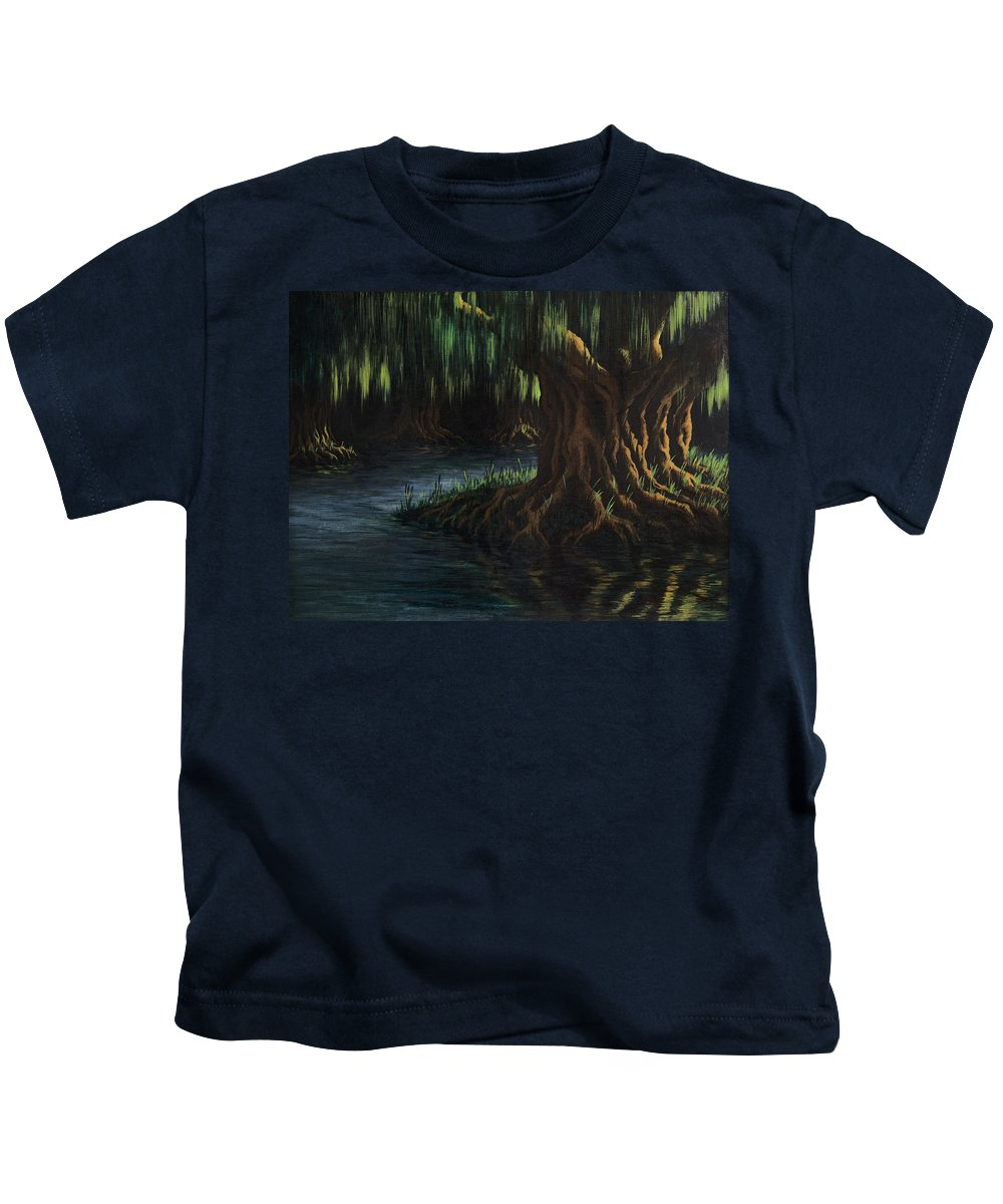 Abstract Kids T-Shirt featuring the painting Old Man Willow by William Russell Nowicki