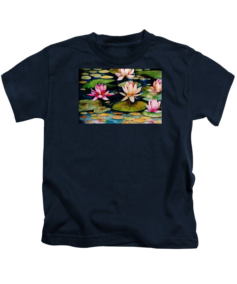 Lily Kids T-Shirt featuring the painting On Lily Pond by Jun Jamosmos