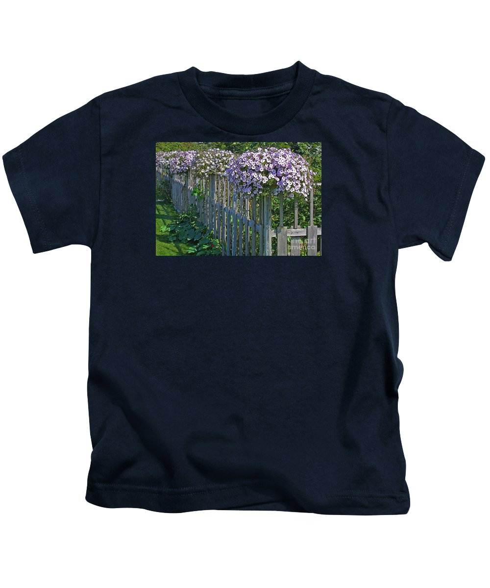 Petunia Kids T-Shirt featuring the photograph On The Fence by Ann Horn
