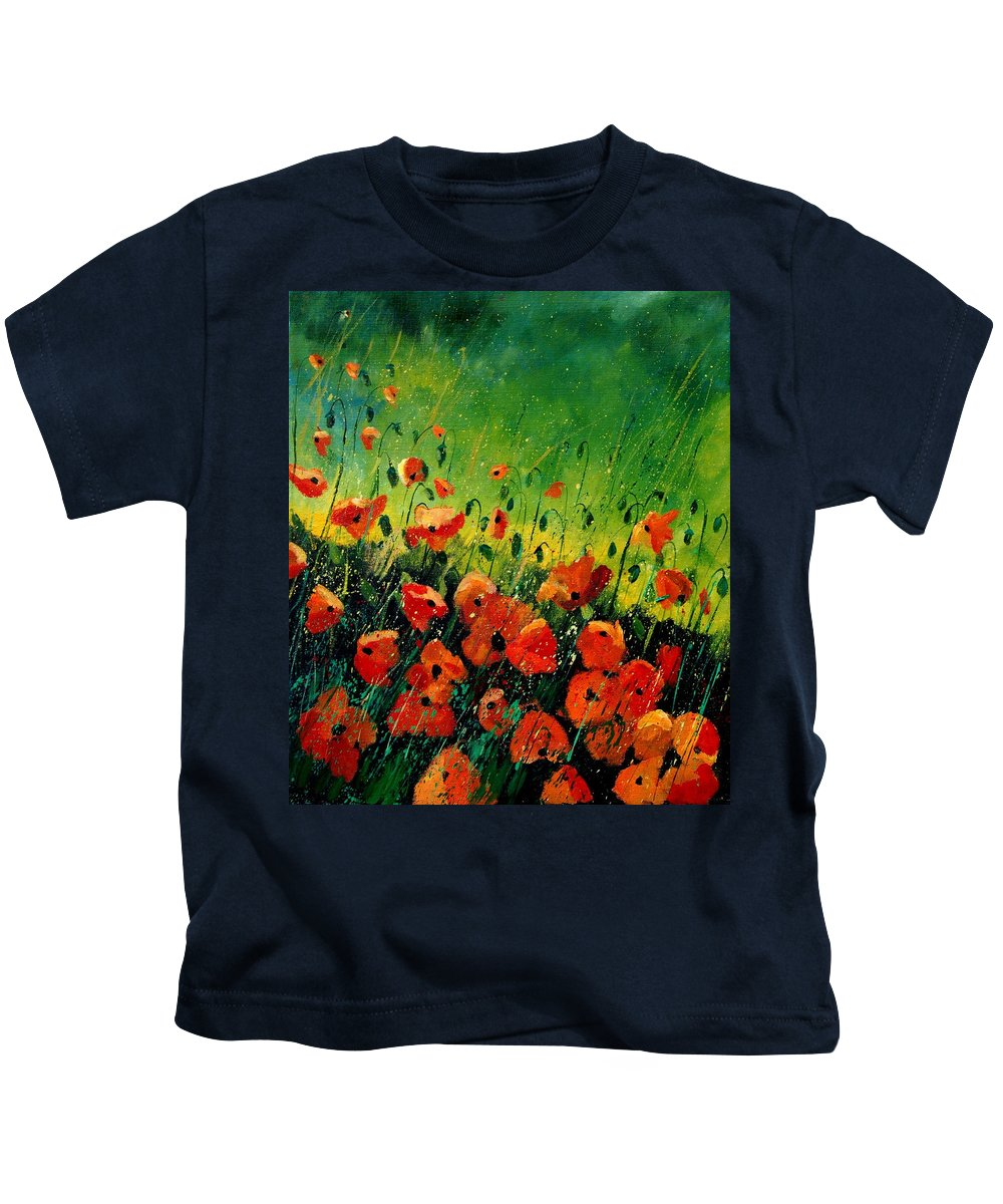 Poppies Kids T-Shirt featuring the painting Orange Poppies by Pol Ledent