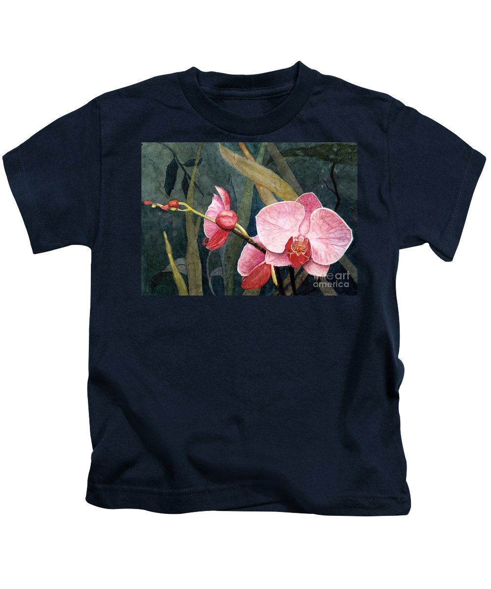 Flowers Kids T-Shirt featuring the painting Orchid Trio by Barbara Jewell