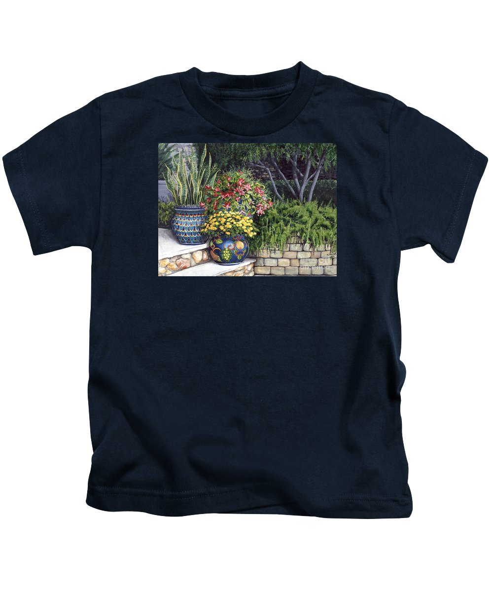 Floral Kids T-Shirt featuring the painting Painted Pots by Mary Palmer