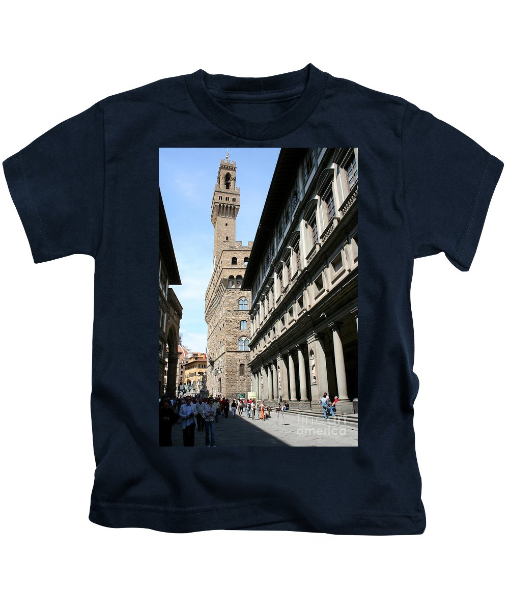 Florence Kids T-Shirt featuring the photograph Palazzo Vecchio And Uffizien by Christiane Schulze Art And Photography