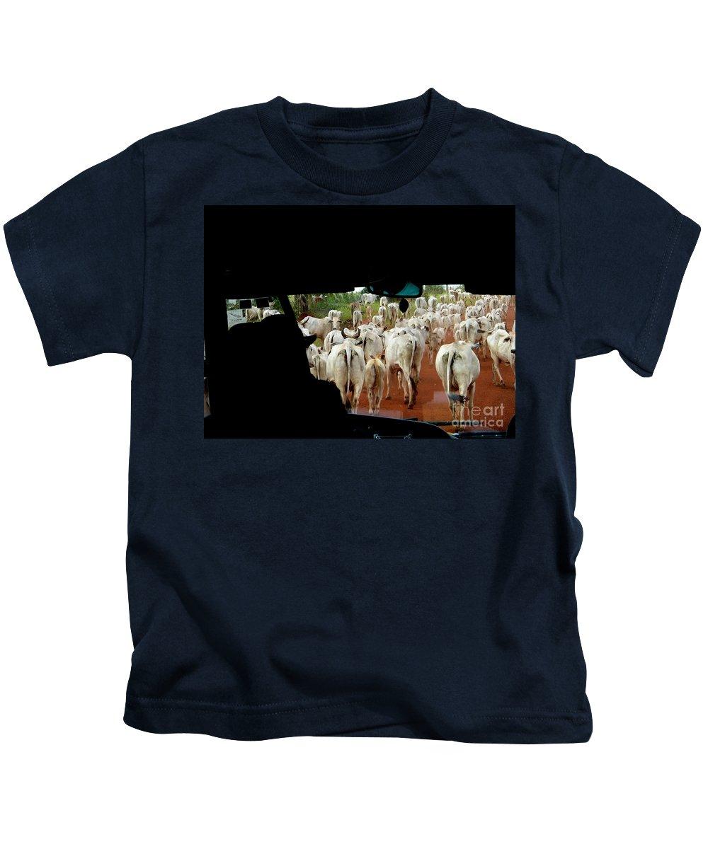 Animals Kids T-Shirt featuring the digital art Pantenal Cows by Carol Ailles