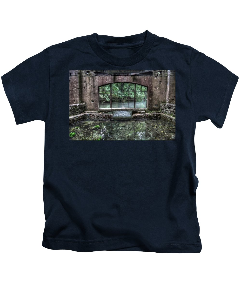 Kettle Moraine Kids T-Shirt featuring the photograph Paradise Springs Spring House Interior 4 by Jennifer Rondinelli Reilly - Fine Art Photography