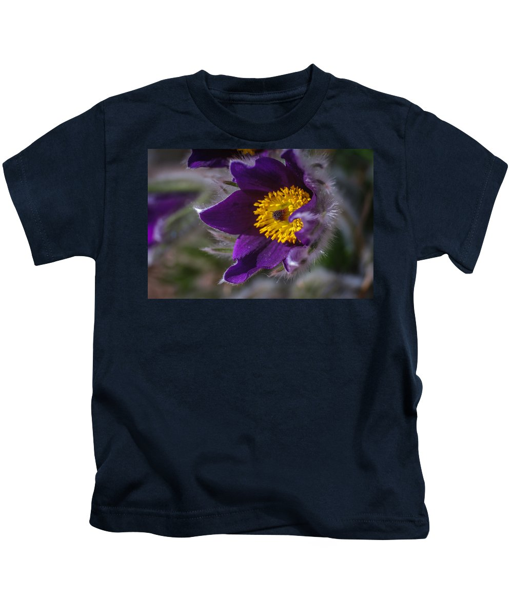 Purple Kids T-Shirt featuring the photograph Pasque Flower by Edie Snell