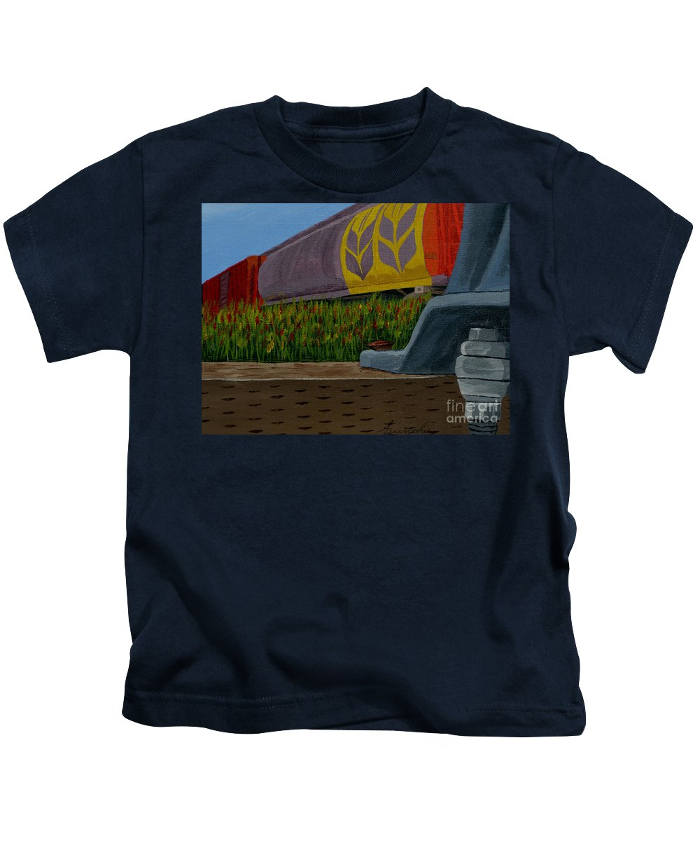 Train Kids T-Shirt featuring the painting Passing The Wild Ones by Anthony Dunphy