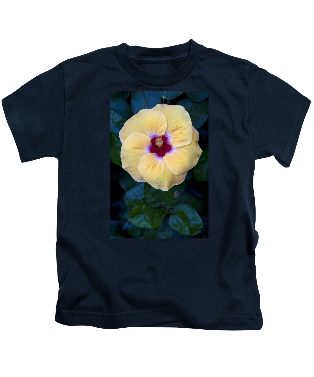 Peach Hibiscus Kids T-Shirt featuring the photograph Peach Hibiscus by Sally Weigand
