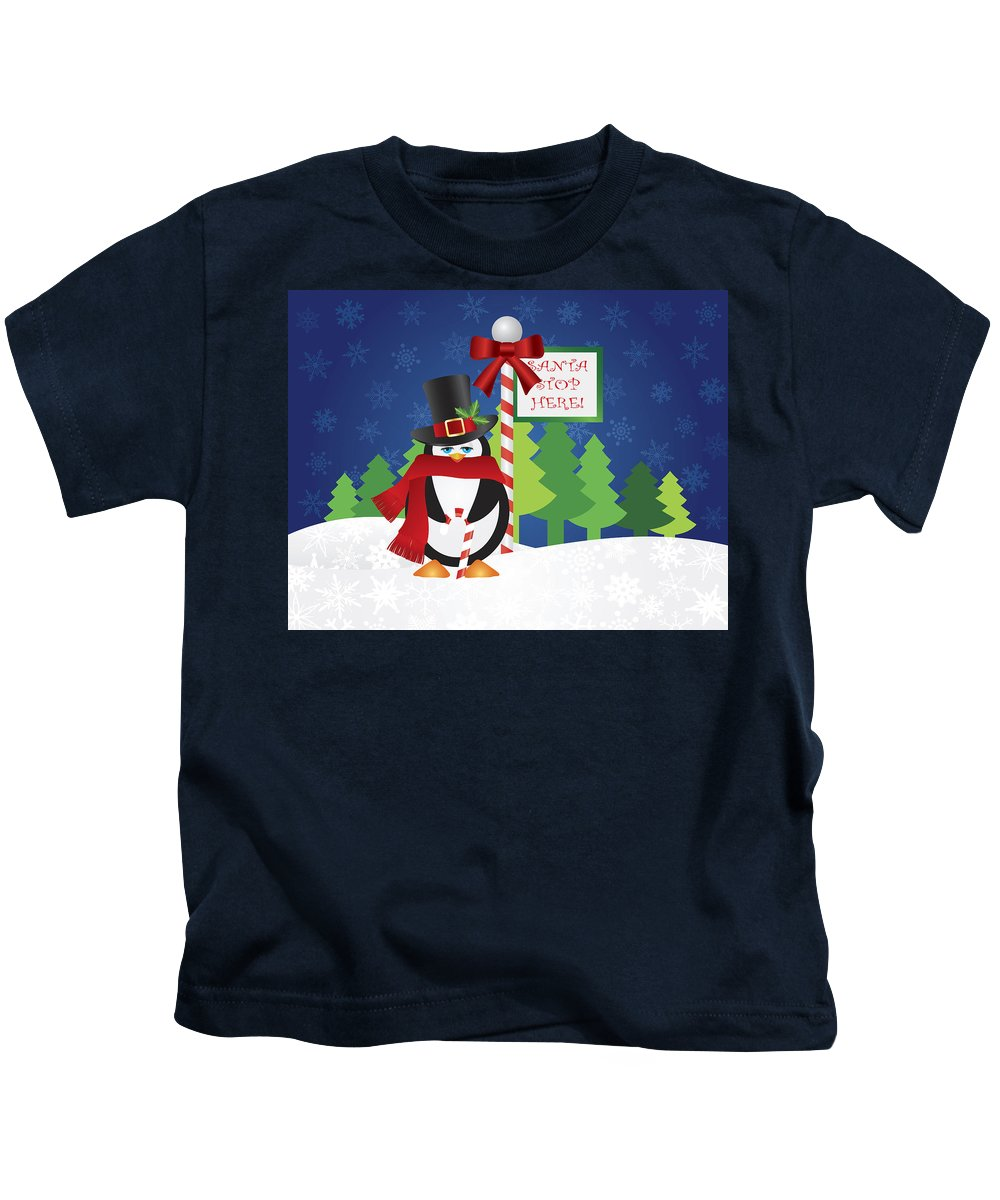 Penguin Kids T-Shirt featuring the photograph Penguin Top Hat At Santa Stop Here Sign by Jit Lim