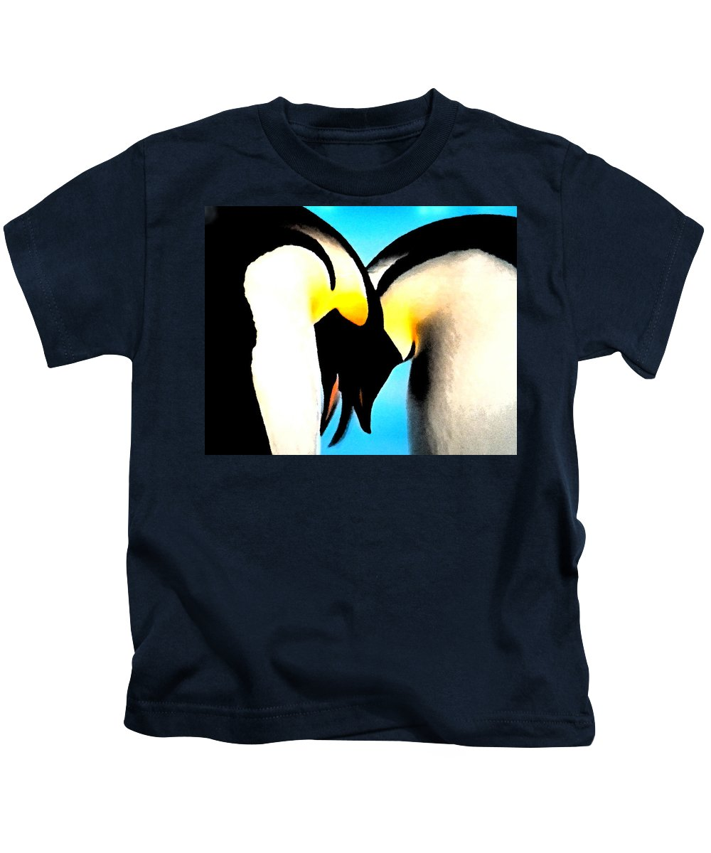 Colette Kids T-Shirt featuring the painting Penquin Love Dance by Colette V Hera Guggenheim