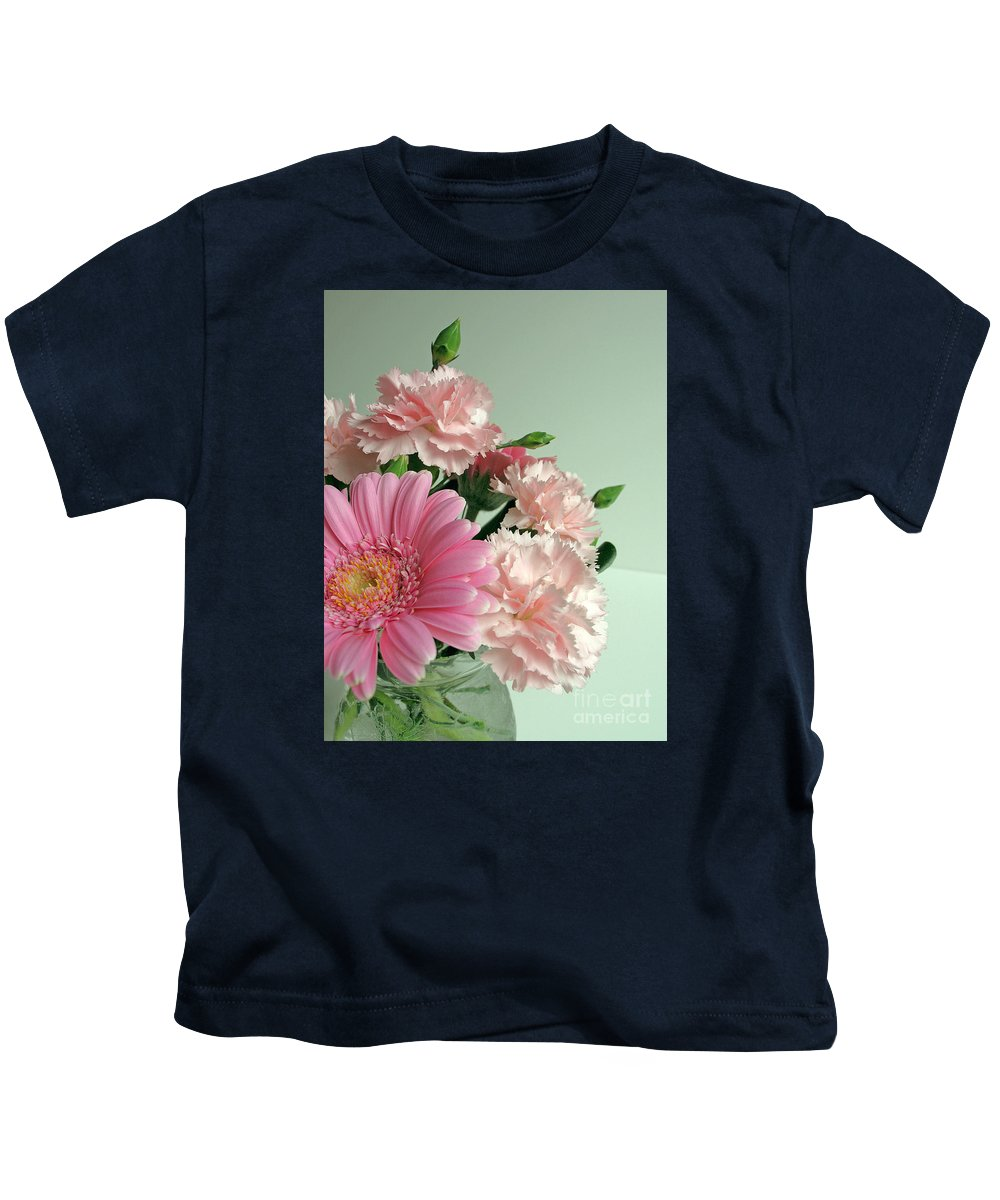 Floral Kids T-Shirt featuring the photograph Pink And Green Floral by Ann Horn