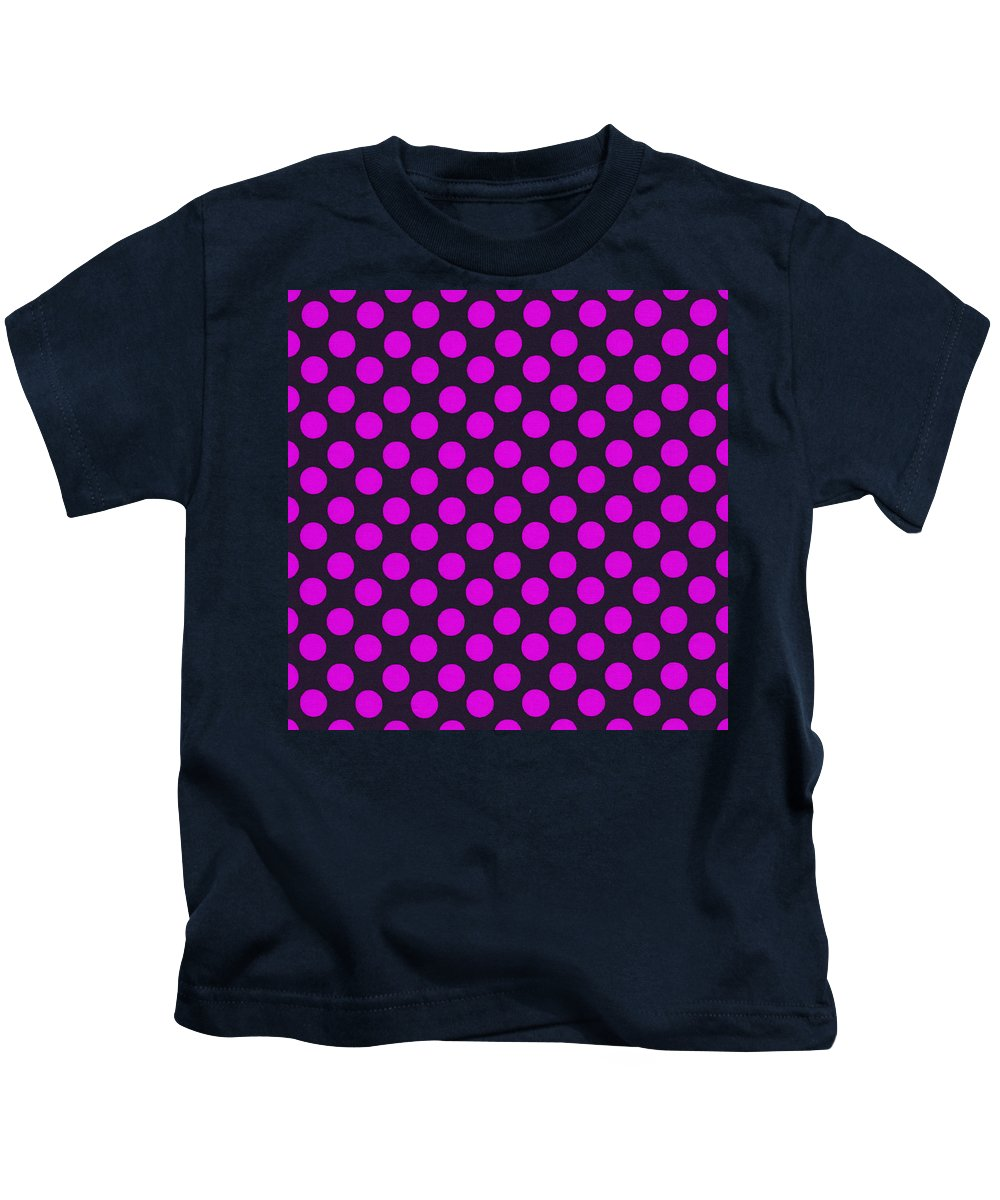Polka Dots Kids T-Shirt featuring the photograph Pink Polka Dots On Black Fabric Background by Keith Webber Jr