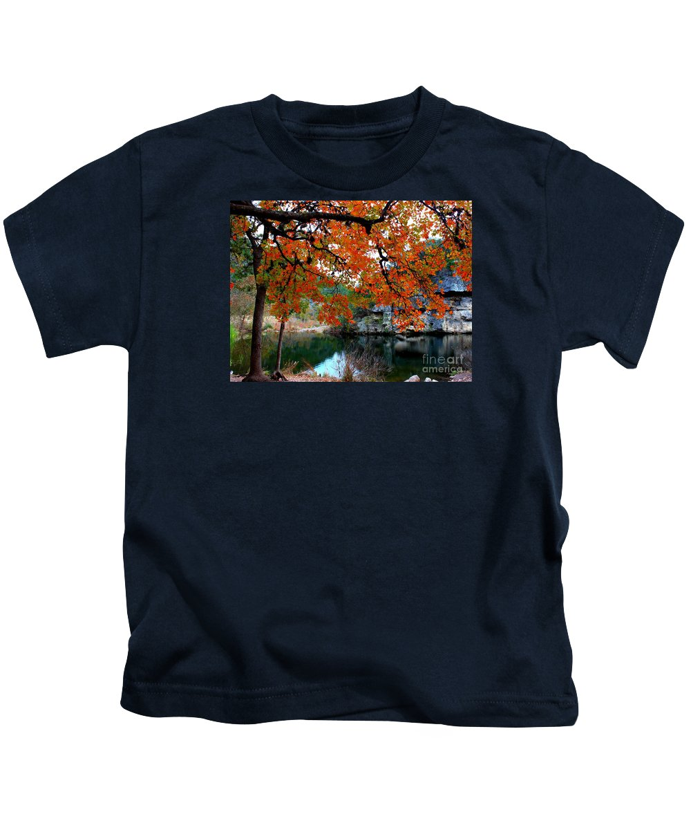 Pond Kids T-Shirt featuring the photograph Fall At Lost Maples State Natural Area by Michael Tidwell
