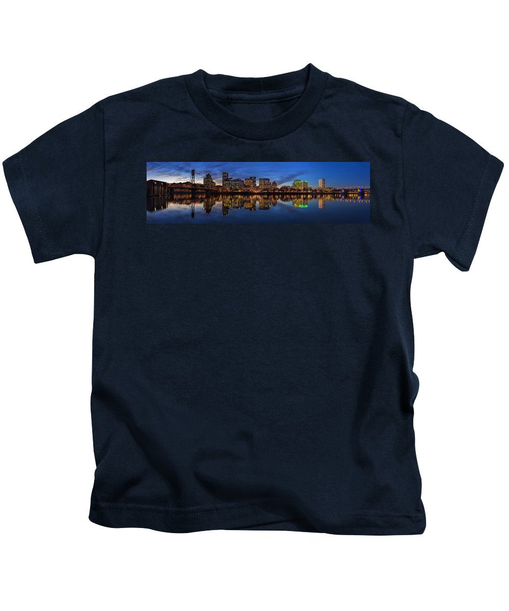 Portland Kids T-Shirt featuring the photograph Portland Downtown Skyline At Blue Hour Panorama by David Gn