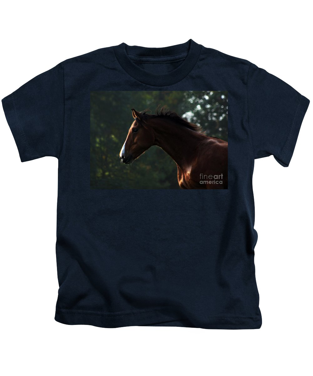 Horse Kids T-Shirt featuring the photograph Portrait Of A Horse by Angel Ciesniarska