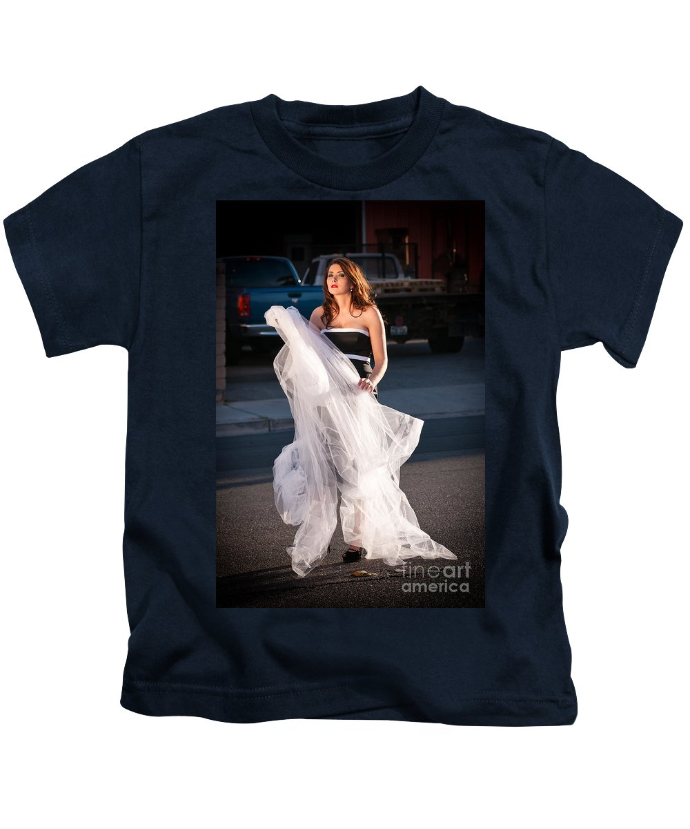 Bride Kids T-Shirt featuring the photograph Pretty Woman With Gun Behind The Veil by Les Palenik