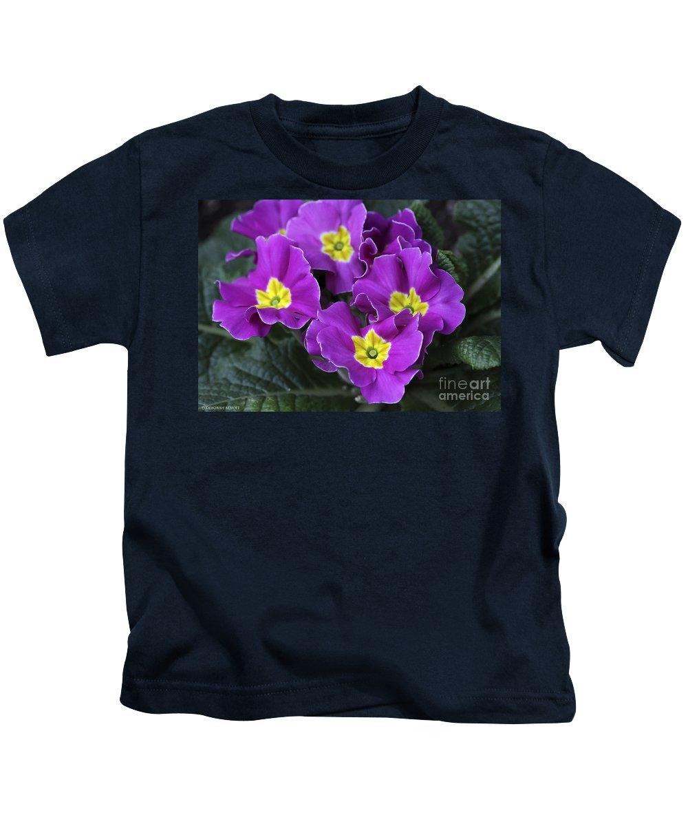 Flowers Kids T-Shirt featuring the photograph Primrose Purple by Deborah Benoit