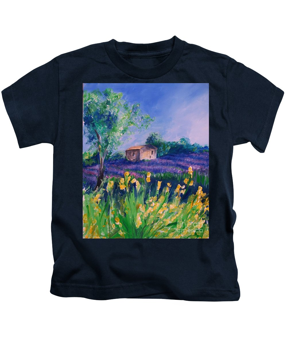 Floral Kids T-Shirt featuring the digital art Provence Yellow Flowers by Eric Schiabor