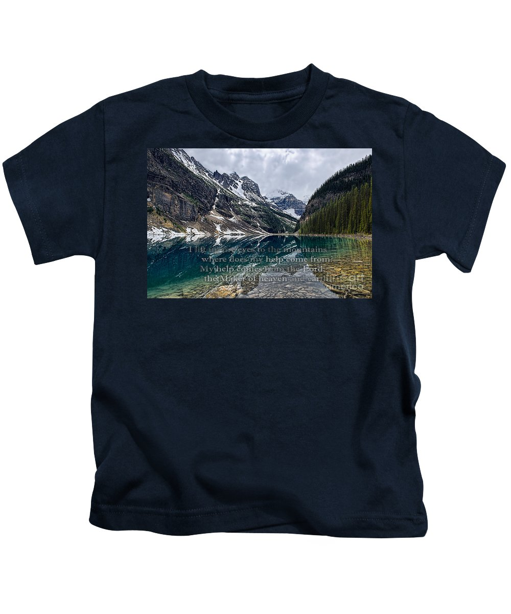 Psalm 121 Kids T-Shirt featuring the photograph Psalm 121 With Mountains by David Arment