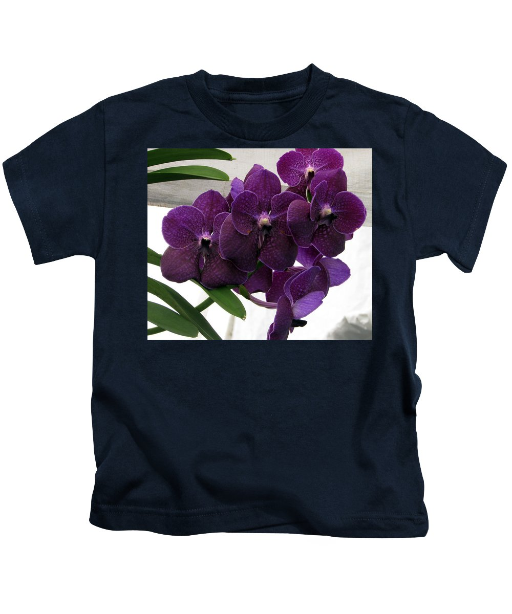 Purple Orchid Kids T-Shirt featuring the photograph Purple Me Not by Debi Singer